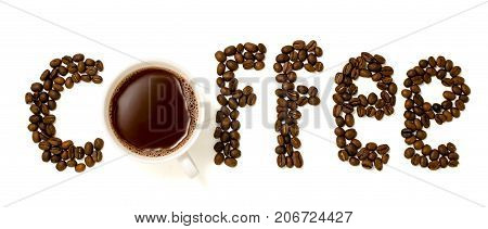 A Cup Of Coffee In The Inscription From Coffee Beans