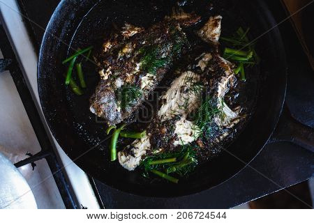 Fried Flounder Flat Fish In A Frying Pan With Dill