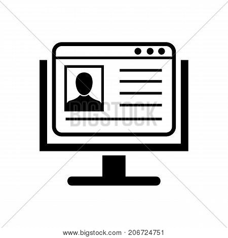 Icon of account on Internet. Personal information, computer, monitor. Business concept. Can be used for topics like electronic database, personal data file, blogging, presentation