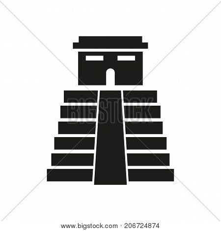 Icon of Aztec pyramid. Mesoamerican, Egyptian, architecture. Landmarks concept. Can be used for topics like mythology, culture, ancientness