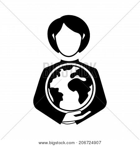 Icon of big abilities. Man holding globe, world, power, trading. Business concept. Can be used for topics like opportunity, global business, international business relationship