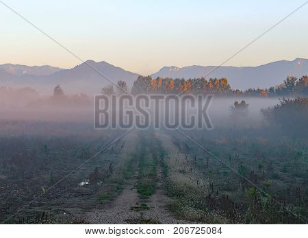 Foggy Autumn Day With Cultivated Field And Mountains