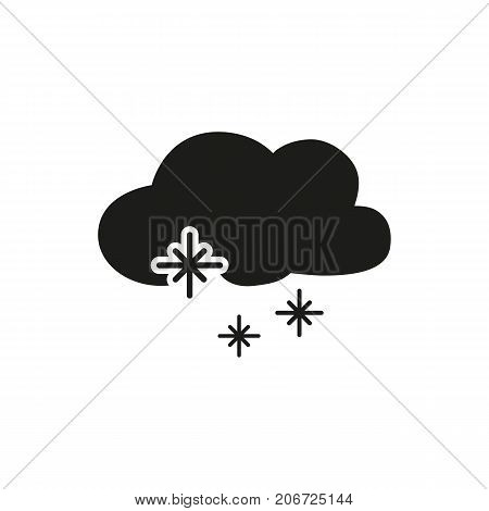 Simple icon of cloud with snow. Winter, frost, precipitation. Weathercolored concept. Can be used for topics like weather, climate, forecast
