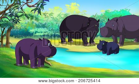 Little Hippo is Afraid of Water. Digital painting cartoon style full color illustration.