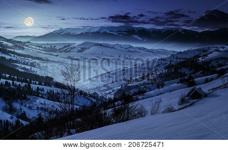Beautiful Countryside In Mountains At Night