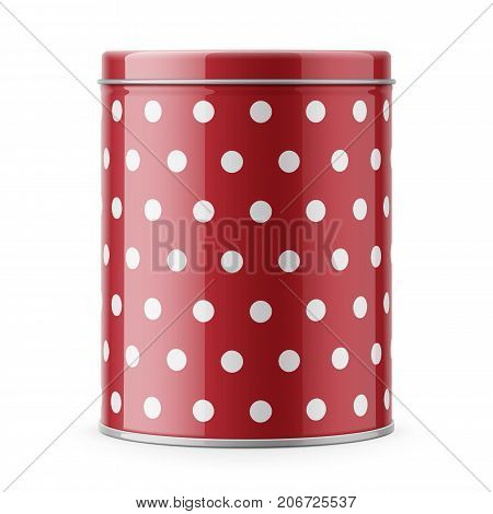 Round glossy tin can with lid. Container for dry products - tea, coffee, sugar, cereals, candy, spice. Realistic packaging vector mockup template with sample design. Front view.