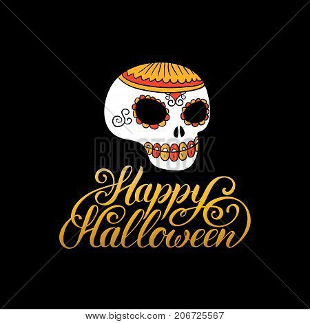 Scull vector illustration with Happy Halloween lettering for party invitation card, poster. All Saints Eve background