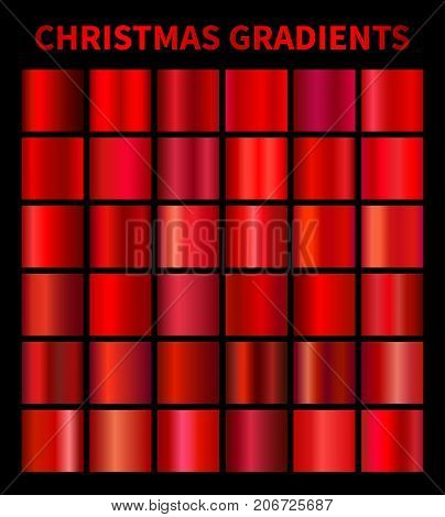 Christmas red gradients. Collection of vector red gradient illustrations for backgrounds, cover, frame, ribbon, banner, label, flyer, card, poster invitation etc Vector swatches EPS10