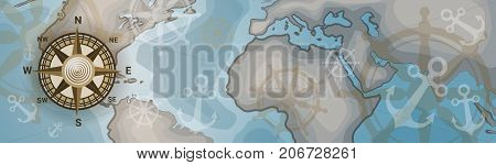 World Map Horizontal Banner Retro Vintage Style Of Continents Vector Illustration