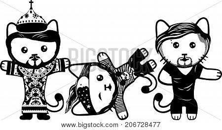 Vector modern fashionable dressed cats. Part 6.