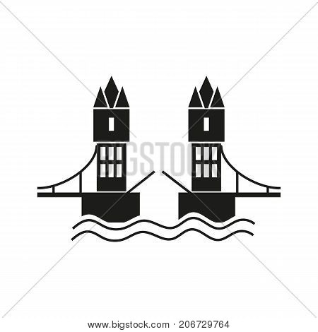Icon of London bridge. Towers, water, drawbridge. Landmarks concept. Can be used for topics like sightseeing, travel, history