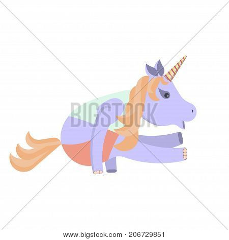 Funny fitness animal character. Unicorn is engaged in yoga. Vector illustration eps 10