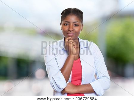 Attractive african american woman with casual clothes outdoors