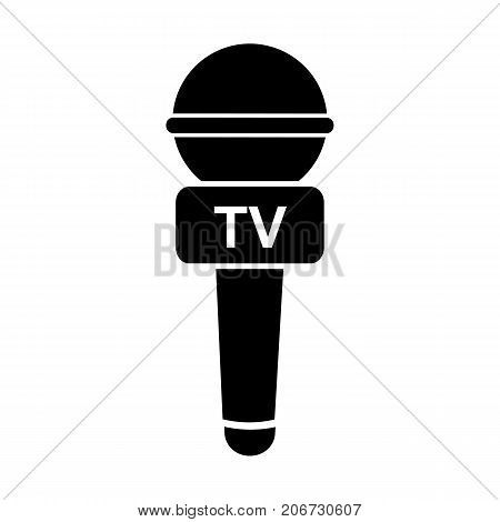 Icon of microphone of tv journalist. Broadcasting, speech, device. Mass media concept. Can be used for topics like tv reporter, news, television