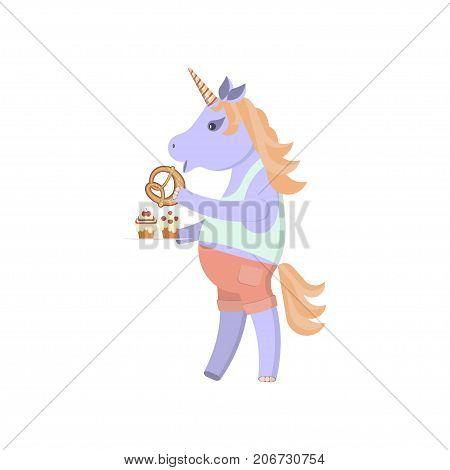 Funny animal character. Unicorn eats buns and sweets. Vector illustration eps 10
