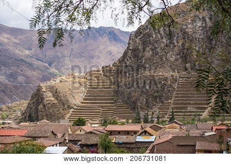 The archaeological site at Ollantaytambo Inca city of Sacred Valley major travel destination in Cusco region Peru.