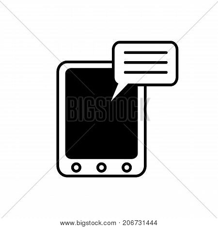 Icon of social media blog. Tablet, device, text. Mass media concept. Can be used for topics like technology, message,  networking