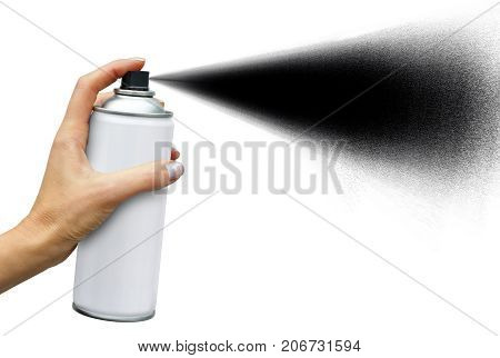 Black jet dispersion from an aerosol can in female hand on white background