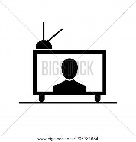 Icon of television with antenna. Watching tv, signal, transmission. Mass media concept. Can be used for topics like leisure, telecommunication medium, news, entertainment