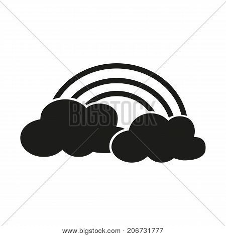 Simple icon of two clouds with rainbow. Rain, summer, sunny day. Weathercolored concept. Can be used for topics like weather, climate, forecast