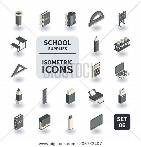 Simple Set of School and Office supplies Icons in flat isometric 3D style. Contains such Icons as Laptop Pen Printer Briefcase and more.