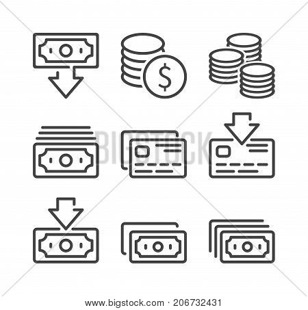 Money and Finance icon set vector symbol in line style isolated on white background. Contains such Icons as bank card account replenishment cash withdrawal and more.
