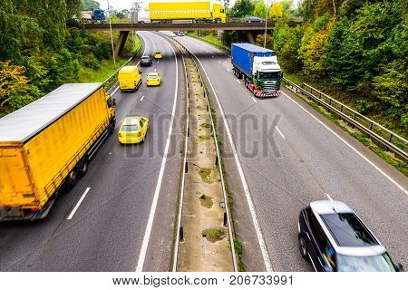 Autumn Background of UK Motorway Road Yellow concept.