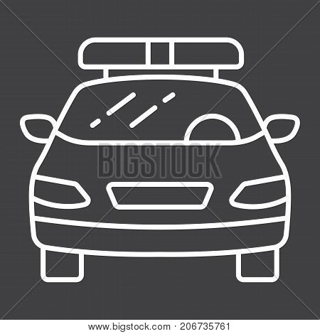 Police car line icon, transport and automobile, cop sign vector graphics, a linear pattern on a black background, eps 10.
