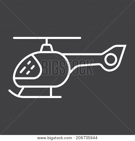 Helicopter line icon, transport and air vehicle, aircraft sign vector graphics, a linear pattern on a black background, eps 10.