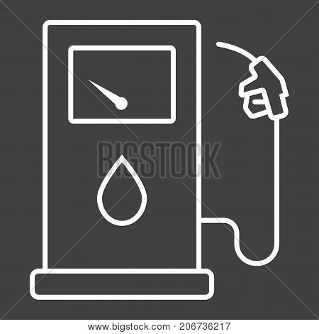 Gas station line icon, petrol and fuel, pump sign vector graphics, a linear pattern on a black background, eps 10.