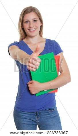 German student in a blue shirt showing thumb up on an isolated white background for cut out
