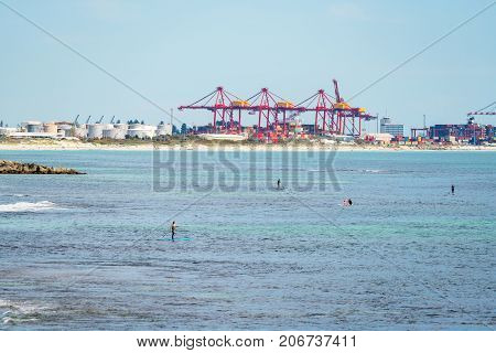 Cranes over the port of Fremantle, Western Australia, Australia.
