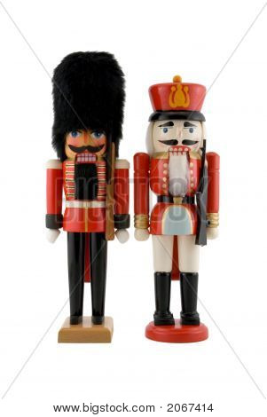 Nutcracker Soldiers Isolated On White