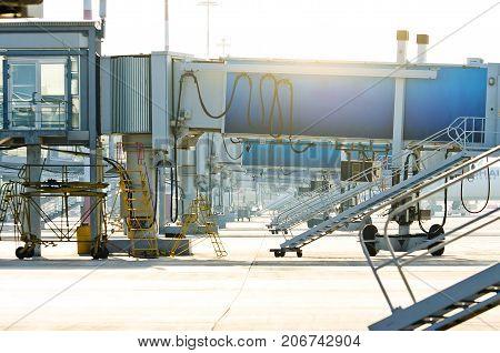 Airport terminal. Airport jet bridge. Airport jetway aerobridge skybridge Passenger boarding bridge