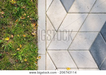 The Grass Lawn and Paving Slabs. Paving Footpath with Grass Lawn Texture