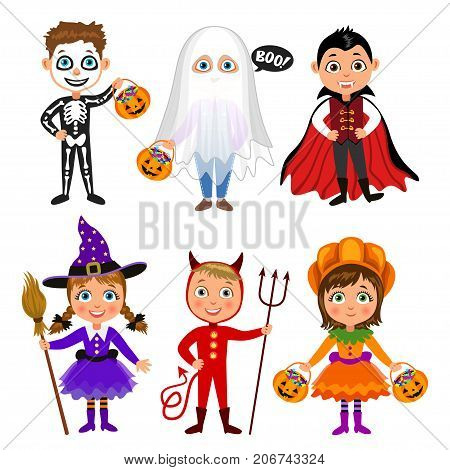 Set of cute cartoon children in halloween costumes. Vampire Dracula devil witch pumpkin ghost skeleton. Halloween boys and girls. Vector characters