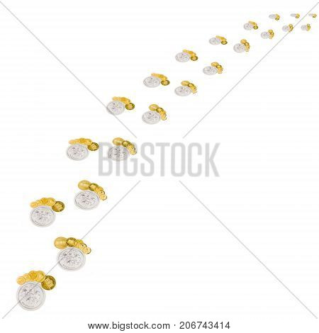 little steps made of silver and golden coins forming growing chart pattern