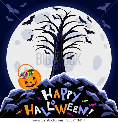 Halloween background. Scary tree big moon and halloween pumpkin bag candies and text Happy Halloween on blue background. Night autumn landscape. Vector