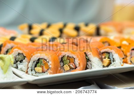 sushijapanese food on dish prepare for partyasia culture traditional