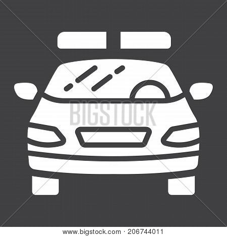 Police car glyph icon, transport and automobile, cop sign vector graphics, a solid pattern on a black background, eps 10.