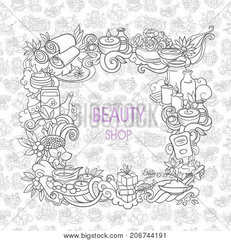 spa and self care doodles vector background