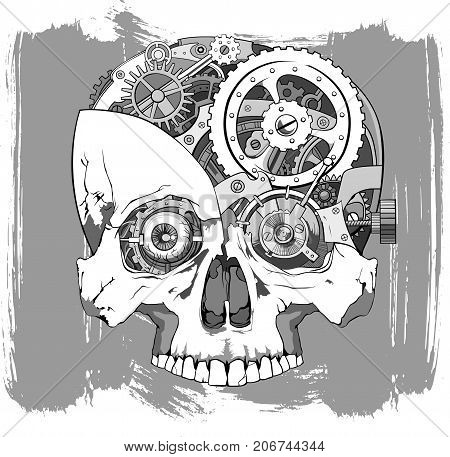 human skull with clockwork mechanism inside vector