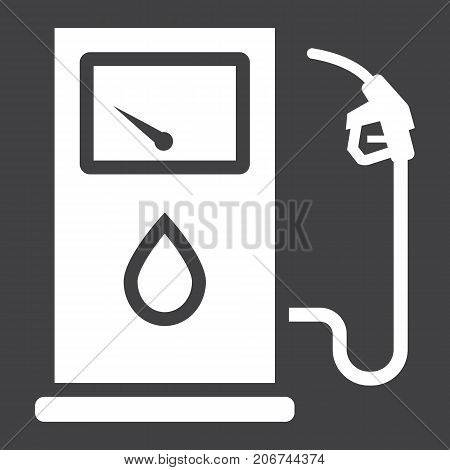 Gas station glyph icon, petrol and fuel, pump sign vector graphics, a solid pattern on a black background, eps 10.