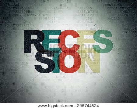 Business concept: Painted multicolor text Recession on Digital Data Paper background