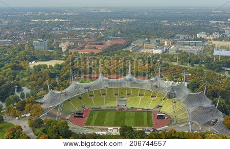MUNICH - GERMANY SEPTEMBER 2017: Olympic Stadium seen from above from Olympia Tower on September 30 2017 in Munich Germany.