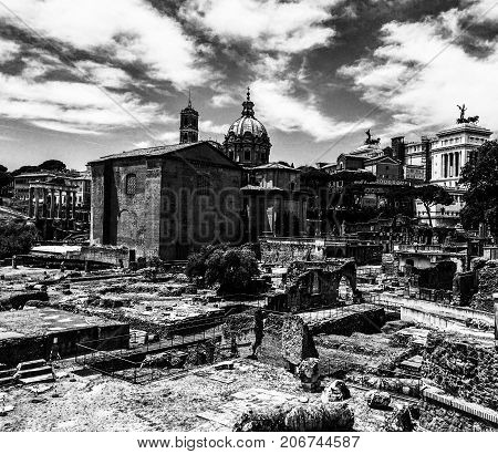 Ancient Roman remains in black and white.