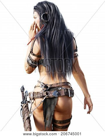 Warrior amazon woman with sword. Long dark hair. Muscular athletic body. Girl standing candid provocative aggressive pose. Conceptual fashion art. Realistic 3D rendering isolate illustration. Hi key.