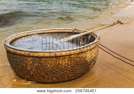Traditional Vietnamese Boat In The Basket