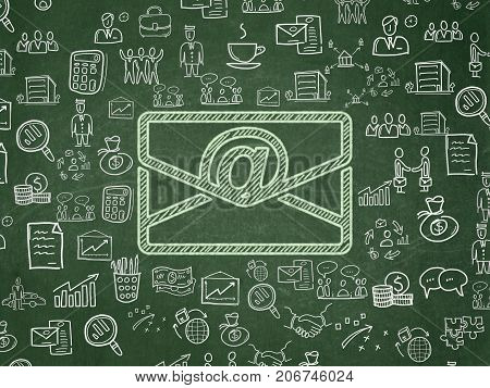 Business concept: Chalk Green Email icon on School board background with  Hand Drawn Business Icons, School Board