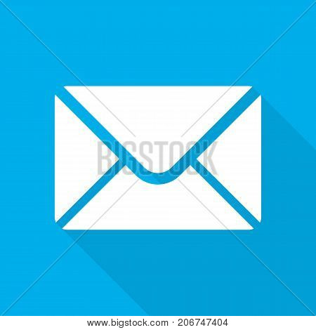 White envelope icon in flat design. Vector illustration. Envelope sign with long shadow on blue background.